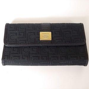 Black Liz Claiborne Trifold Wallet w/ Snap Closure